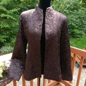 Eileen Fisher 100% silk brown jacket blazer Medium